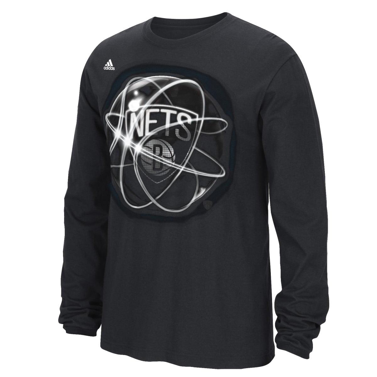 "Brooklyn Nets Adidas NBA ""Horizons"" Premium Print L S Men's T-Shirt by Adidas"