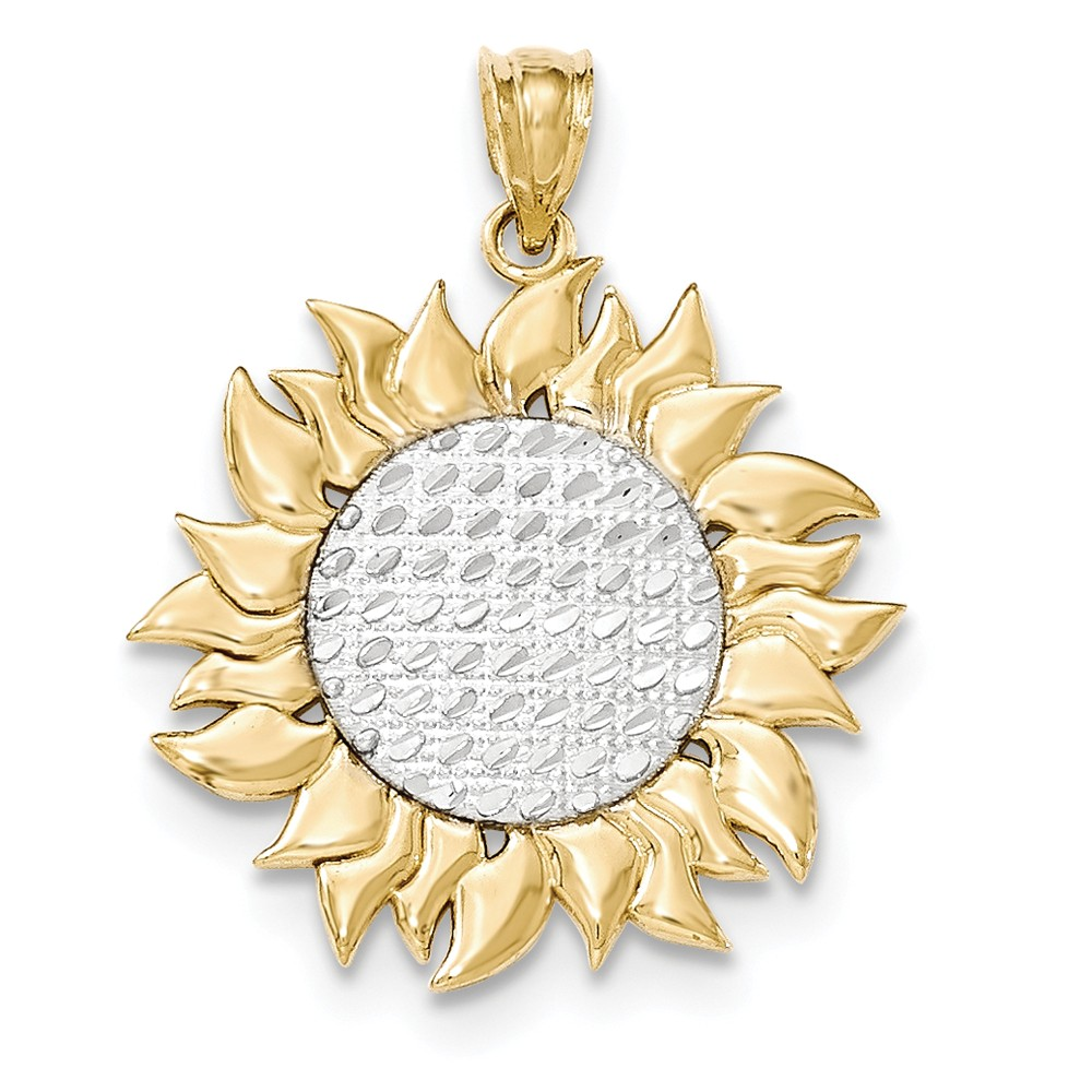 14k Yellow Gold & Rhodium-plated Polished Textured Sun Pendant