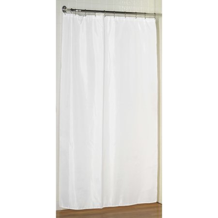 White Stall Size Fabric Shower Curtain Weighted Hem Water Resistant 54W X 78L