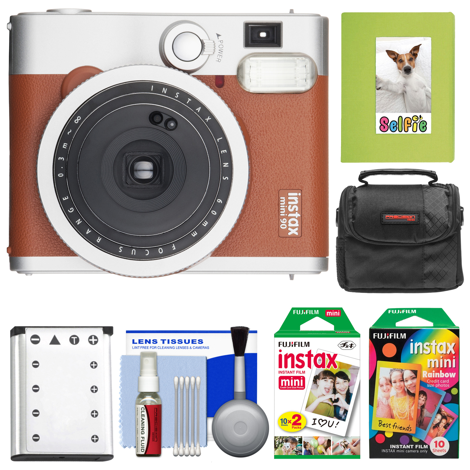 FujiFilm Instax Mini 90 Neo Classic Instant Film Camera (Brown) with 20 Twin Prints & 10 Rainbow Prints + Case... by Fujifilm