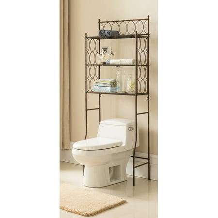 Pilaster Designs Nairne Copper Iron 3 Tier Shelf Transitional Etagere Over The Toilet Bathroom Storage Organizer Rack