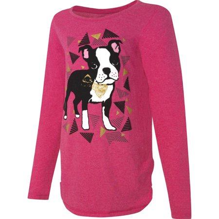 Hanes Girls' Printed Long Sleeve Shirttail T-shirt