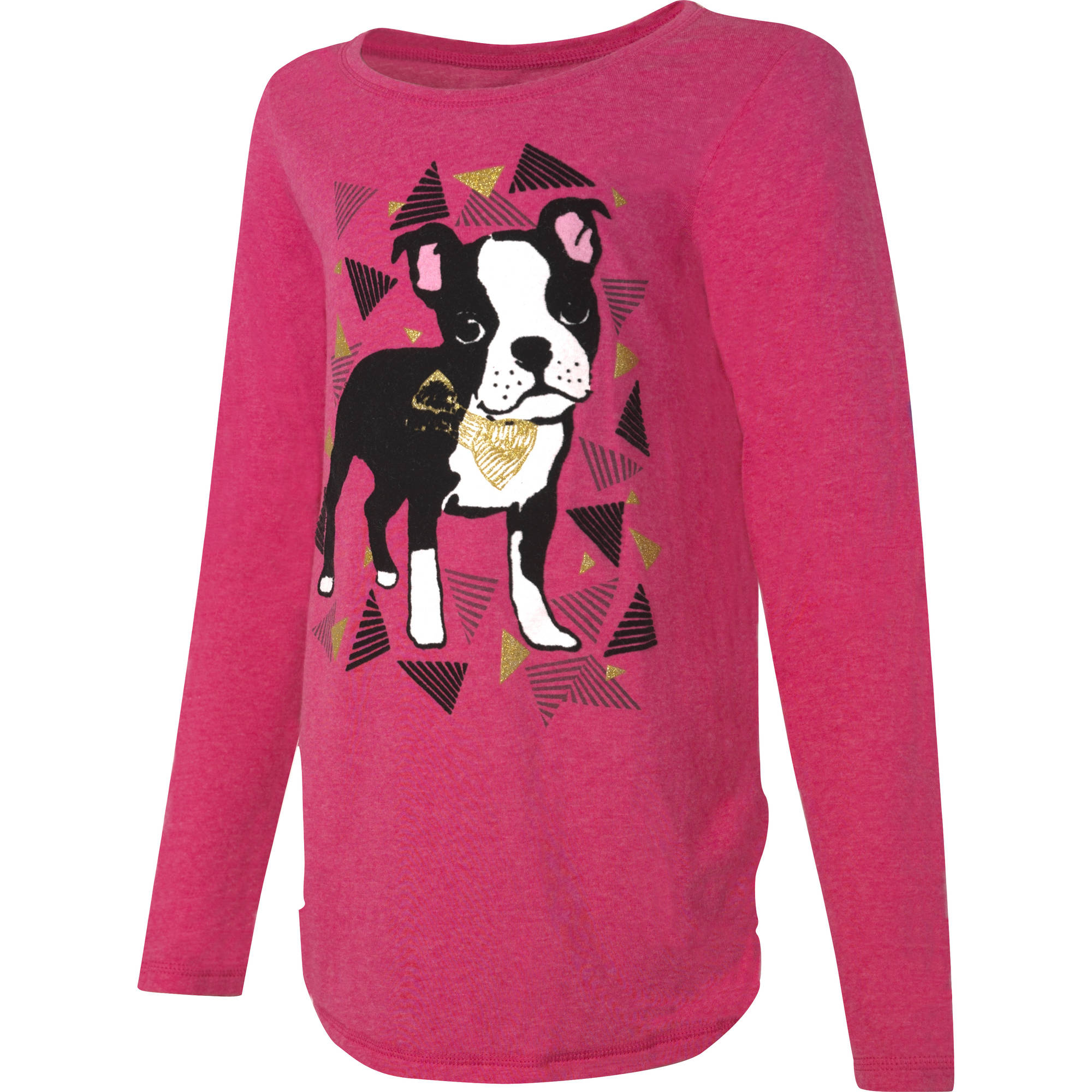 Hanes Girls' Printed Long Sleeve Shirttail T-shirt