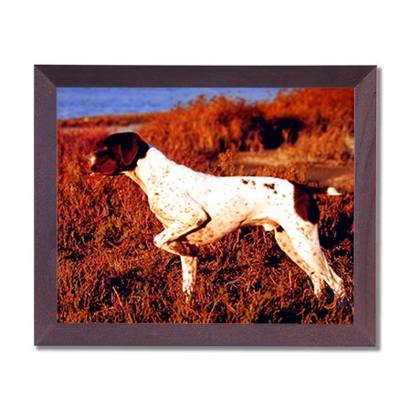 English Pointer Puppy Dog Kids Room Animal Wall Picture Cherry Framed Art Print - English Cherry Frame