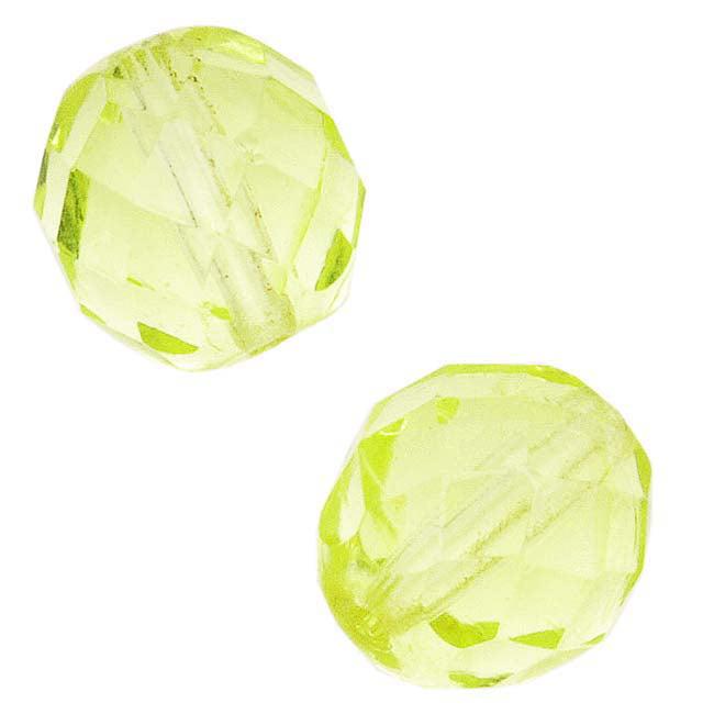 Czech Fire Polished Glass Beads 10mm Round Jonquil (12)