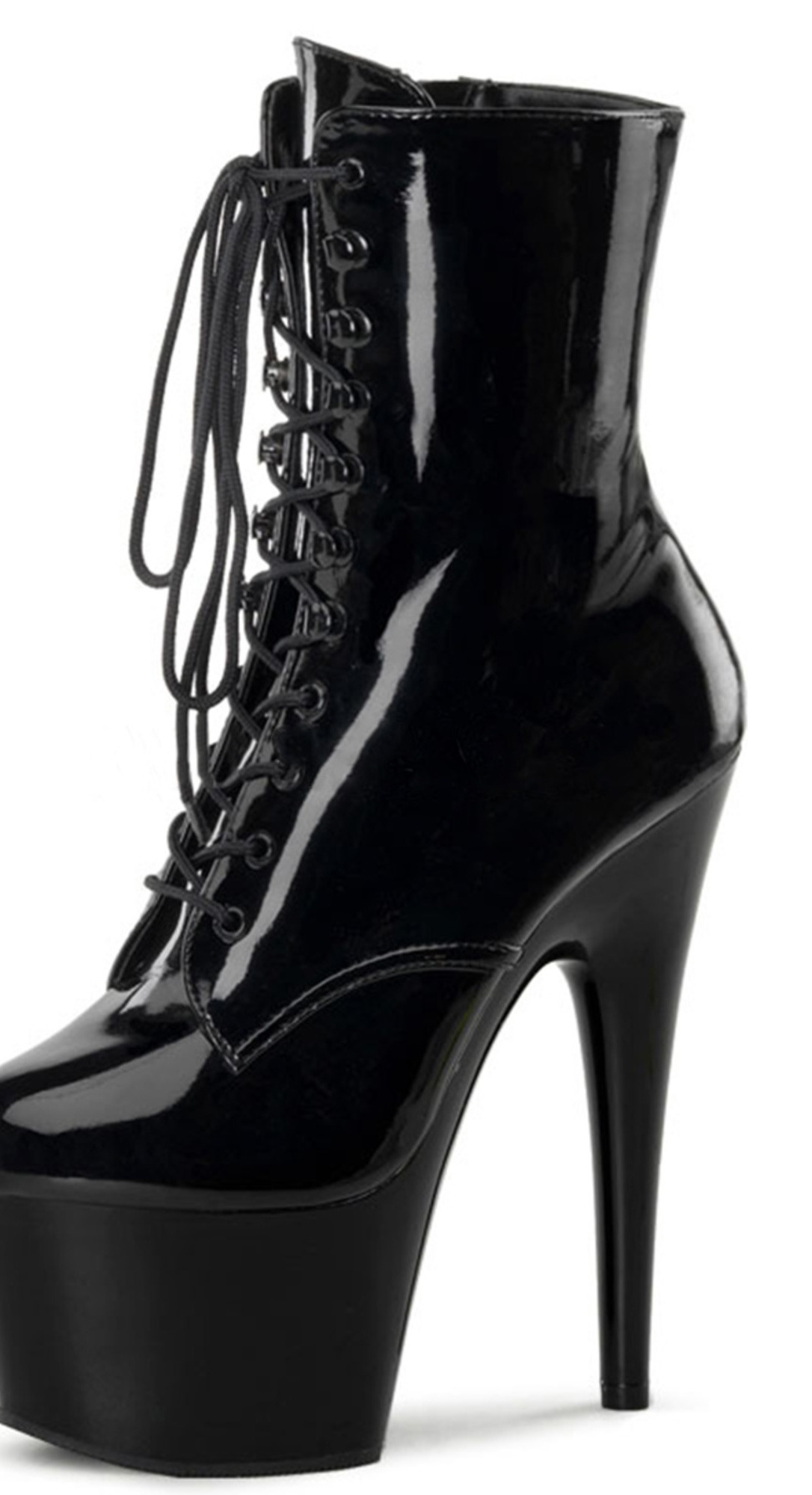Lace Up Shiny Black Ankle Boots 7 Inch Stiletto Heel and 2.75 Inch Platform