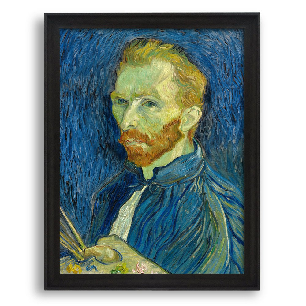 """Wall26 - Self Portrait by Vincent Van Gogh - Framed Art Print - Famous Painting Wall Decor - 20""""x16"""" - Dark Coffee Brown Frame"""