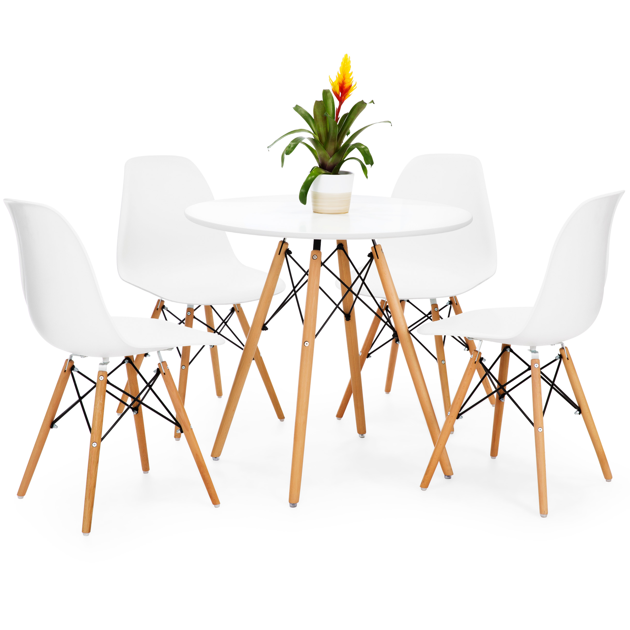 Best Choice Products Mid Century Modern Eames Style Round Dining Table w  Wood Legs and White Tabletop by Best Choice Products