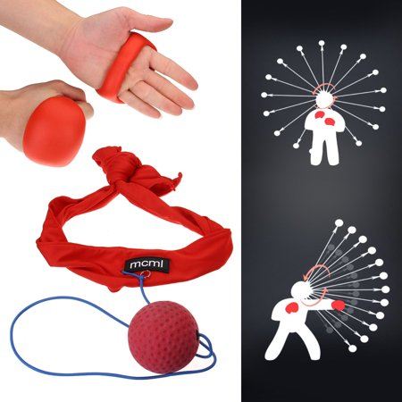 Rubber Ball & Headband Set Speed Reflex Training for Boxing Punch Fight Muay Thai Combat Fitness Sports Exercise Relaxation ()