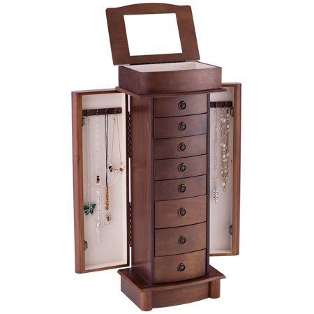 Costway Jewelry Cabinet Armoire Storage Chest Box Stand Organizer Wood Christmas Gift - Christmas Jewelry Ideas