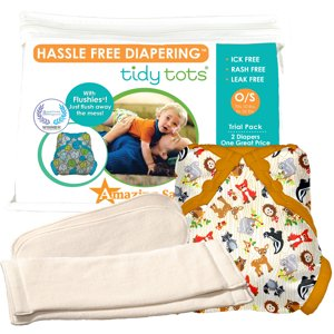 Tidy Tots Hassle Free 2 Diaper Trial Set with Forest Friends Cover