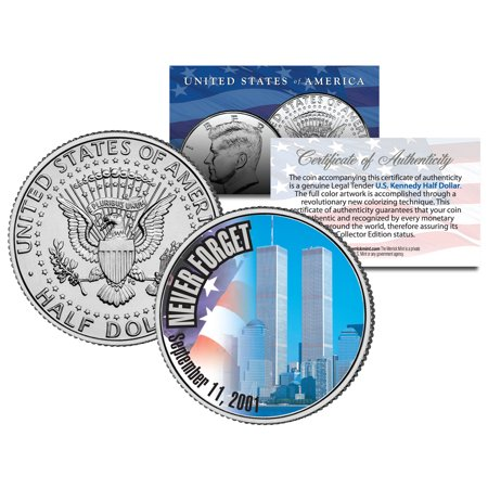 WORLD TRADE CENTER 9/11 Colorized 2001 JFK Half Dollar U.S. First Ever WTC (World Trade Center Woman In The Hole)