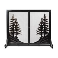 Alpine Large Heavy Duty Steel Fireplace Fire Screen with Doors