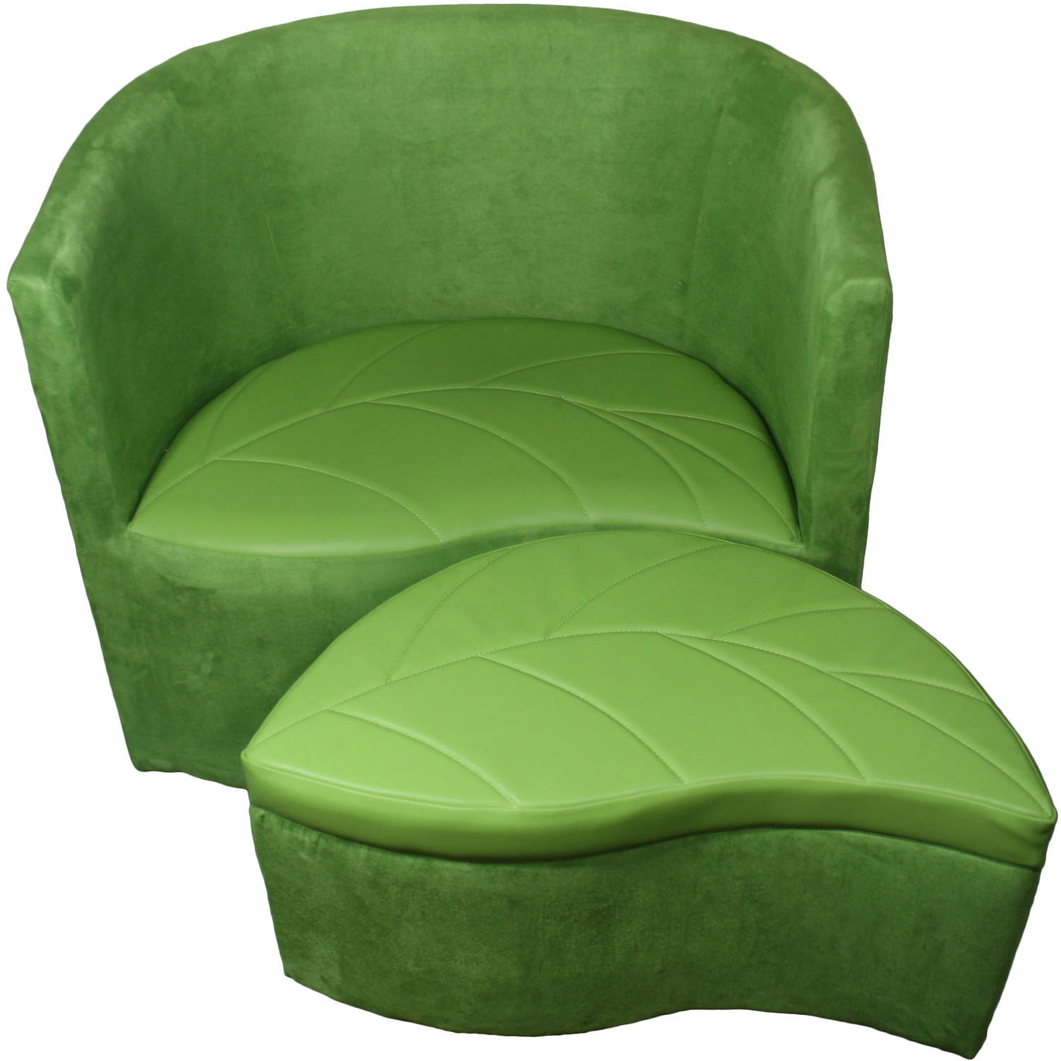 "29"" Green Suede Accent Chair with Storage Ottoman"
