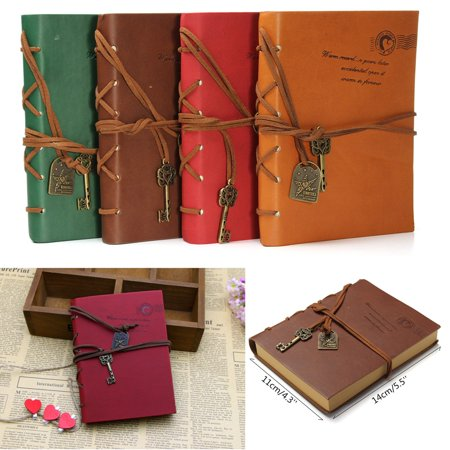 Vintage  Leather Cover Key Pendant StringBlank Diary Notebook Journal Notepad,deep coffee color