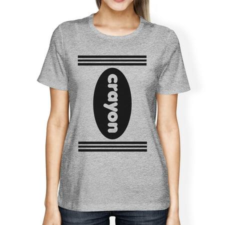 Crayon Womens Grey Graphic T-Shirt Round Neck Halloween Tee Shirt