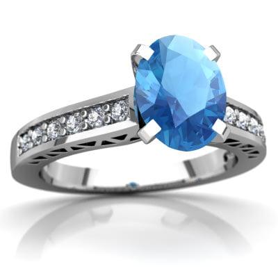 Blue Topaz Art Deco Ring in 14K White Gold by