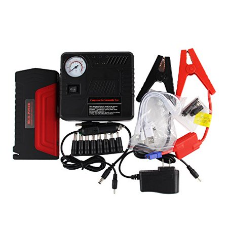 Powerful Jump Starter Portable Large Capacity 600A Peak 16800mAh Emergency Power Bank Phone Battery Charger LED Light Safety Hammer Cutter Tire Compressor Air