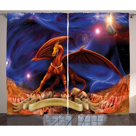 Dragon Curtains 2 Panels Set  Fantasy Scene With Dragon Knight Against Cosmos Galaxy Planetary Space Background  Window Drapes For Living Room Bedroom  108W X 84L Inches  Blue Cinnamon  By Ambesonne