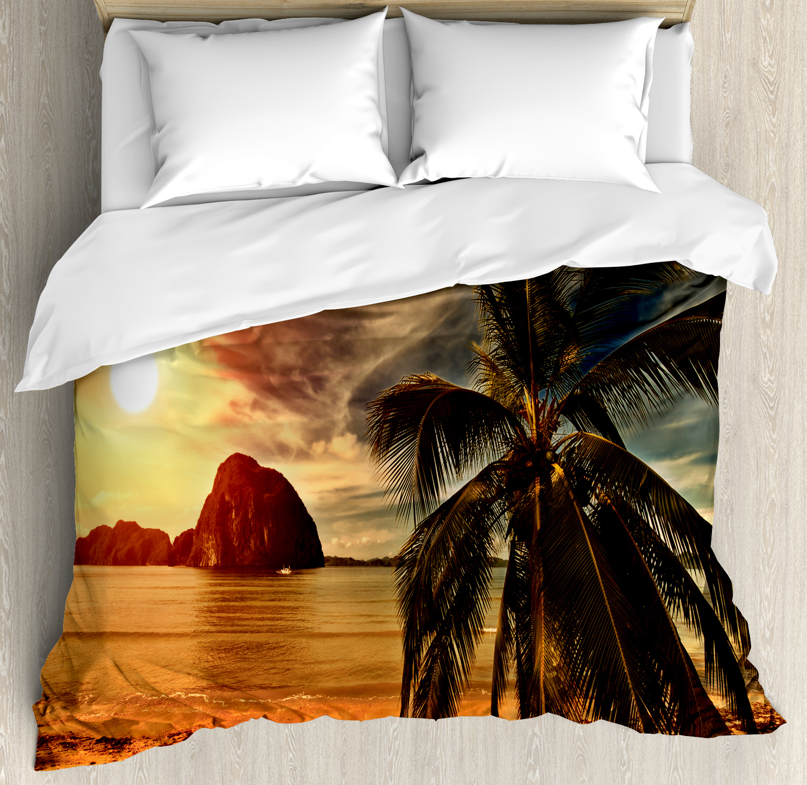 Tropical King Size Duvet Cover Set, Exotic Beach with Coconut Palm Tree and Horizon Sunset Calm Panorama, Decorative 3 Piece Bedding Set with 2 Pillow Shams, Orange and Olive Green, by Ambesonne