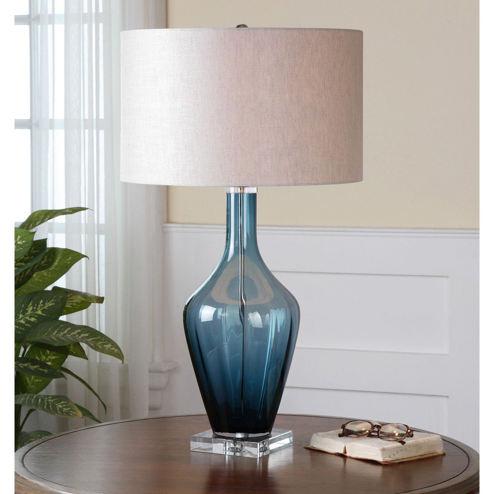 Uttermost Hagano 26191 1 Blue Glass Table Lamp Walmart Com