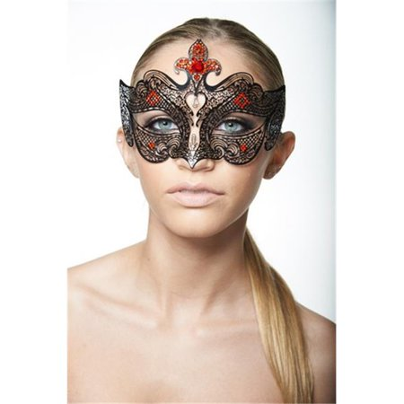 Black Luxury Metal Venetian Medieval Laser Cut Masquerade Mask with Red Rhinestones - One Size