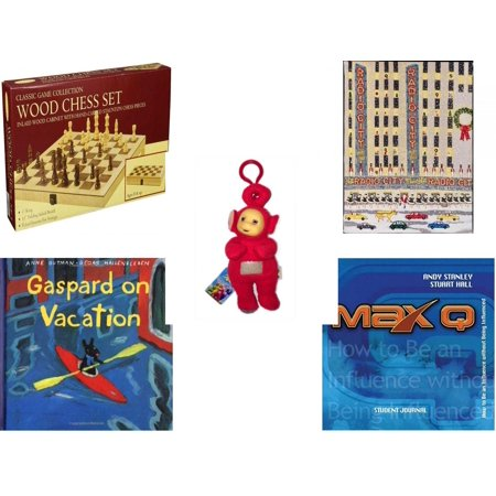 Children's Gift Bundle [5 Piece] -  Classic Wood Folding Chess Set  - Radio City   - Teletubbies  Red Po With Hang Clip 8
