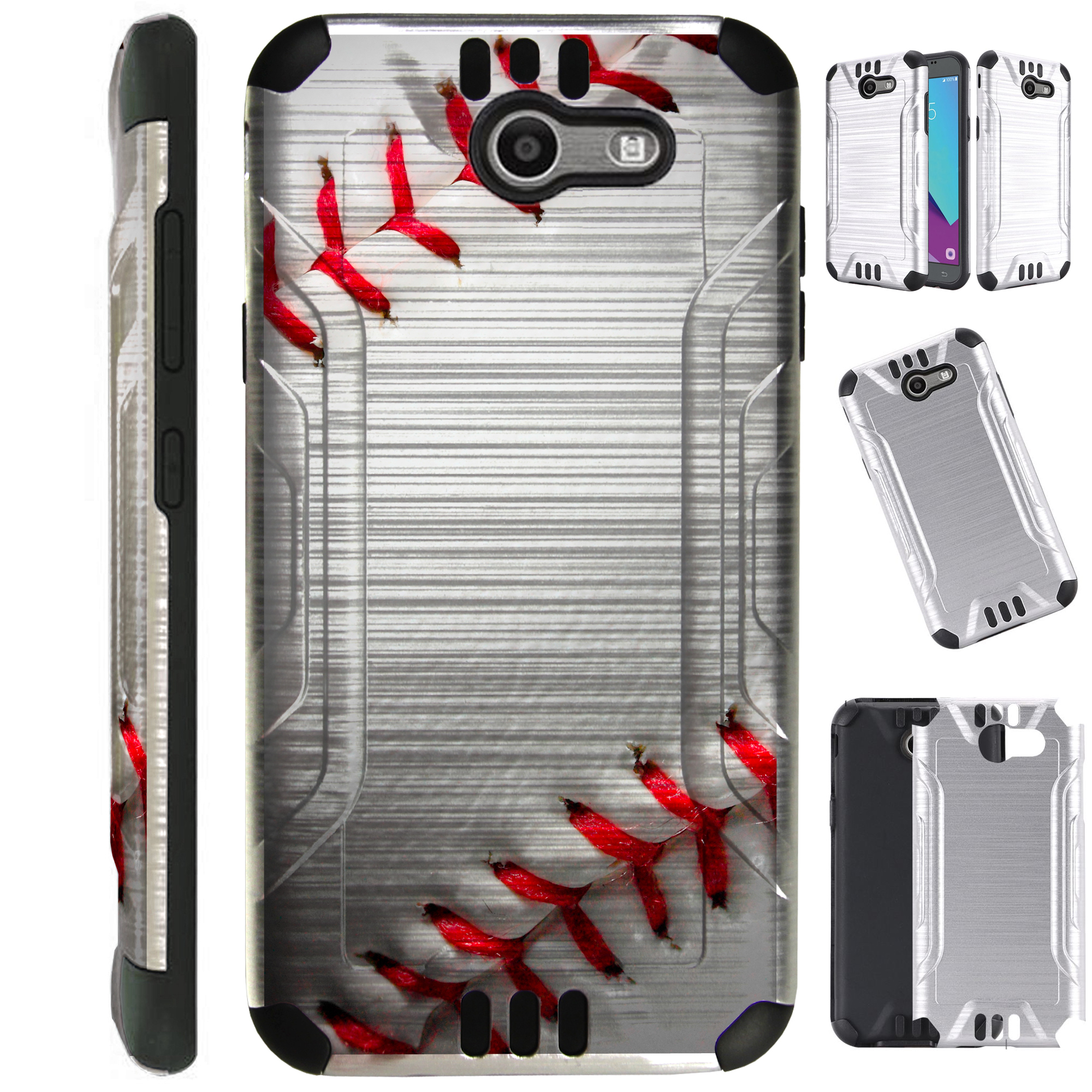 Silver Guard Phone Case Cover For Samsung Galaxy J3 (2017) | J3 Emerge | Sol 2 | J3 Luna Pro (Baseball)