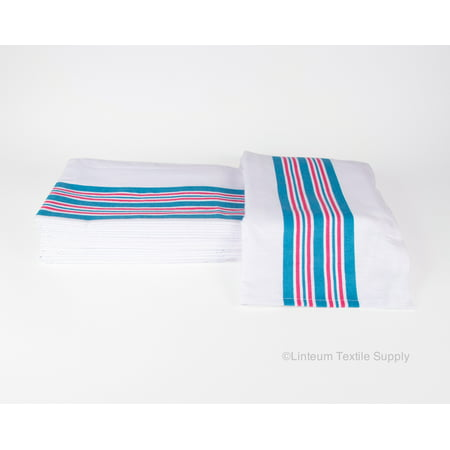 - Linteum Textile (12-Pack, 30x40 in) Receiving HOSPITAL BABY BLANKETS, 100% Cotton, White w/Blue & Pink Stripes