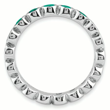 Sterling Silver Stackable Expressions Created Emerald Ring Size 7 - image 1 de 3