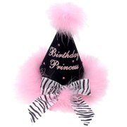 """Girls Black Marabou Pink Feathery """"Birthday Princess"""" Bow Cone Party Hat"""