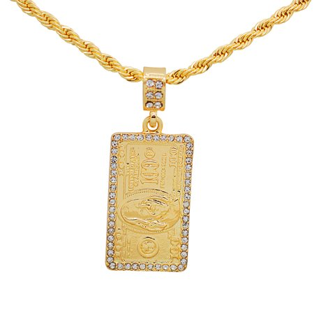 14K Gold Plated Hip Hop Bling Iced Out United States American Hundred Dollar Bill Money Pendant with 24