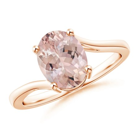 Prong-Set Oval Morganite Solitaire Bypass Ring in 14K Rose Gold (9x7mm Morganite) - SR1259MG-RG-AA-9x7-7 (Morganite Ring 14k Rose Gold)