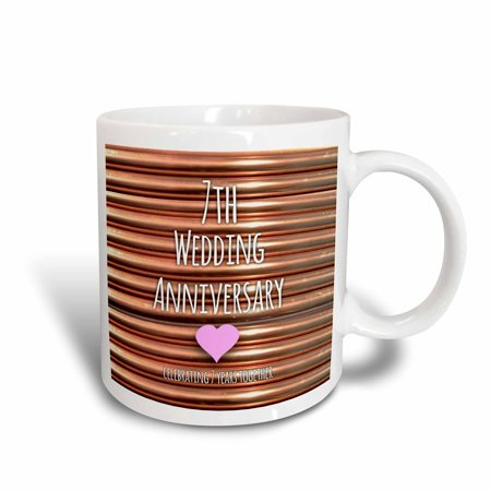 3dRose 7th Wedding Anniversary gift - Copper celebrating 7 years together - seventh anniversaries seven, Ceramic Mug, 11-ounce