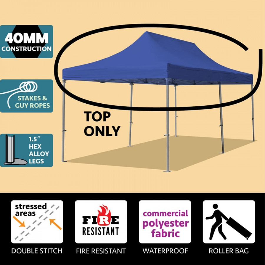 Party Tents Direct 10x20 40mm Speedy Pop Up Instant Canopy Event Tent Top ONLY, Blue