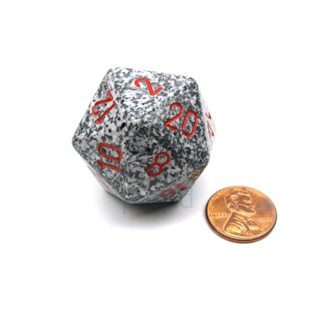 Chessex 34mm Large 20-Sided D20 Speckled Dice, 1 Die - Granite #XS2030