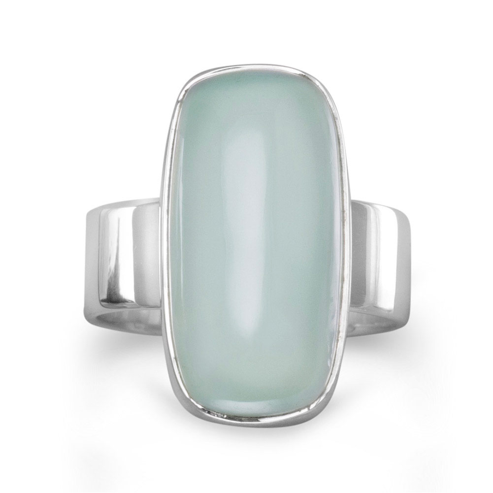 Sterling Silver 19.5mmx10mm Oval Sea Green Chalcedony Ring Ring Size: 6 to 9 by Jewelryweb