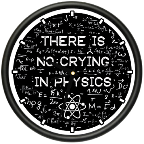 PHYSICS Wall Clock science teacher instructor school classroom no crying gift