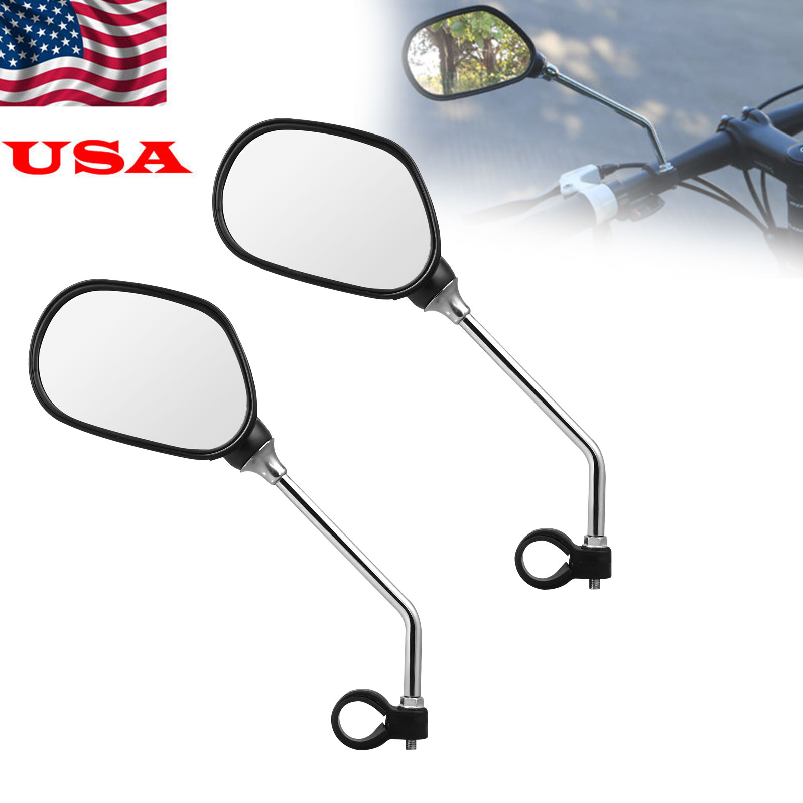 M6 Bicycle Back Mirror Handlebar Rear View Rearview Cycling Bike Safe Mirrors US