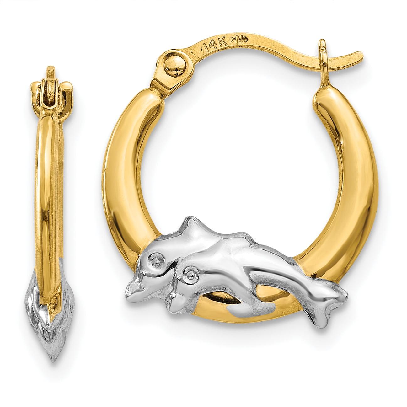 14K & Rhodium Dolphin Hoop Earrings TL729 - image 4 de 4
