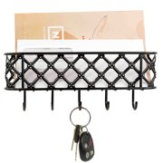 Home Basics Lattice Design Letter and Key Hook Rack - Black