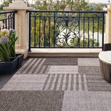 Carpet Art Deco Alfresco Geometric Blocks Grey Indoor