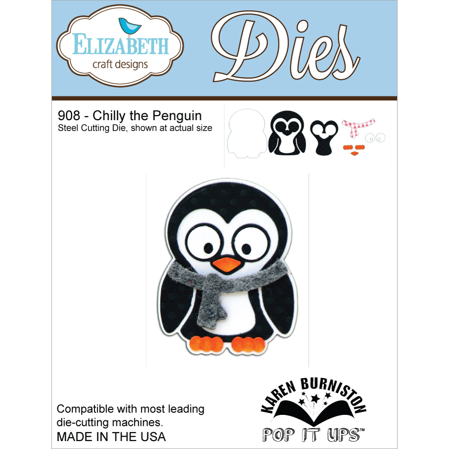 Elizabeth Craft Designs EC908 Metal Die-Chilly The Penguin Multi-Colored