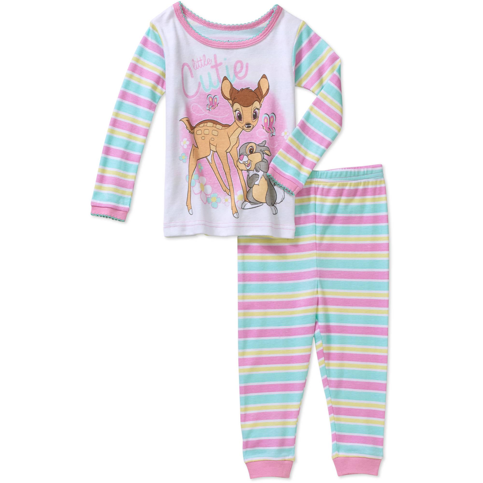 Bambi Newborn Baby Girl Little Cutie Cotton Tight Fit Pajamas 2pc Set