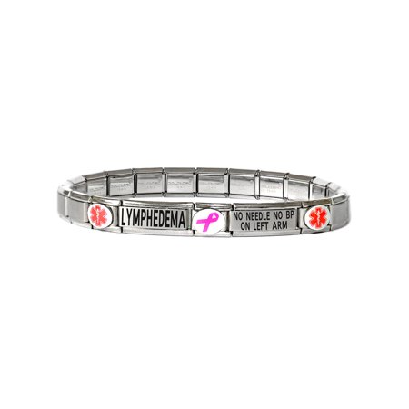 Replacement Medical Id Alert Bracelet (Modular Charm Medical Alert ID Bracelet Jewelry - 2 Lines