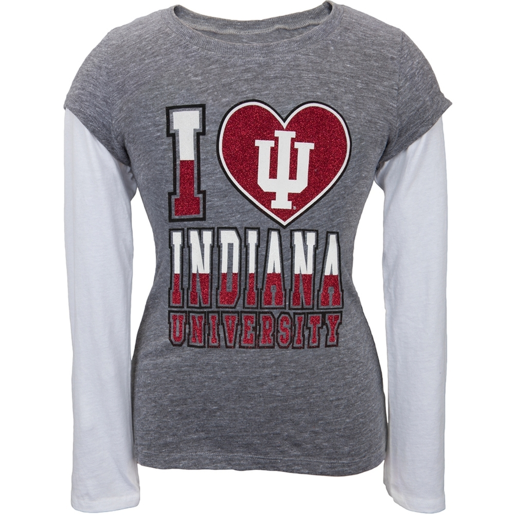 Indiana Hoosiers - Glitter I Heart Girls Youth 2fer Long Sleeve T-Shirt