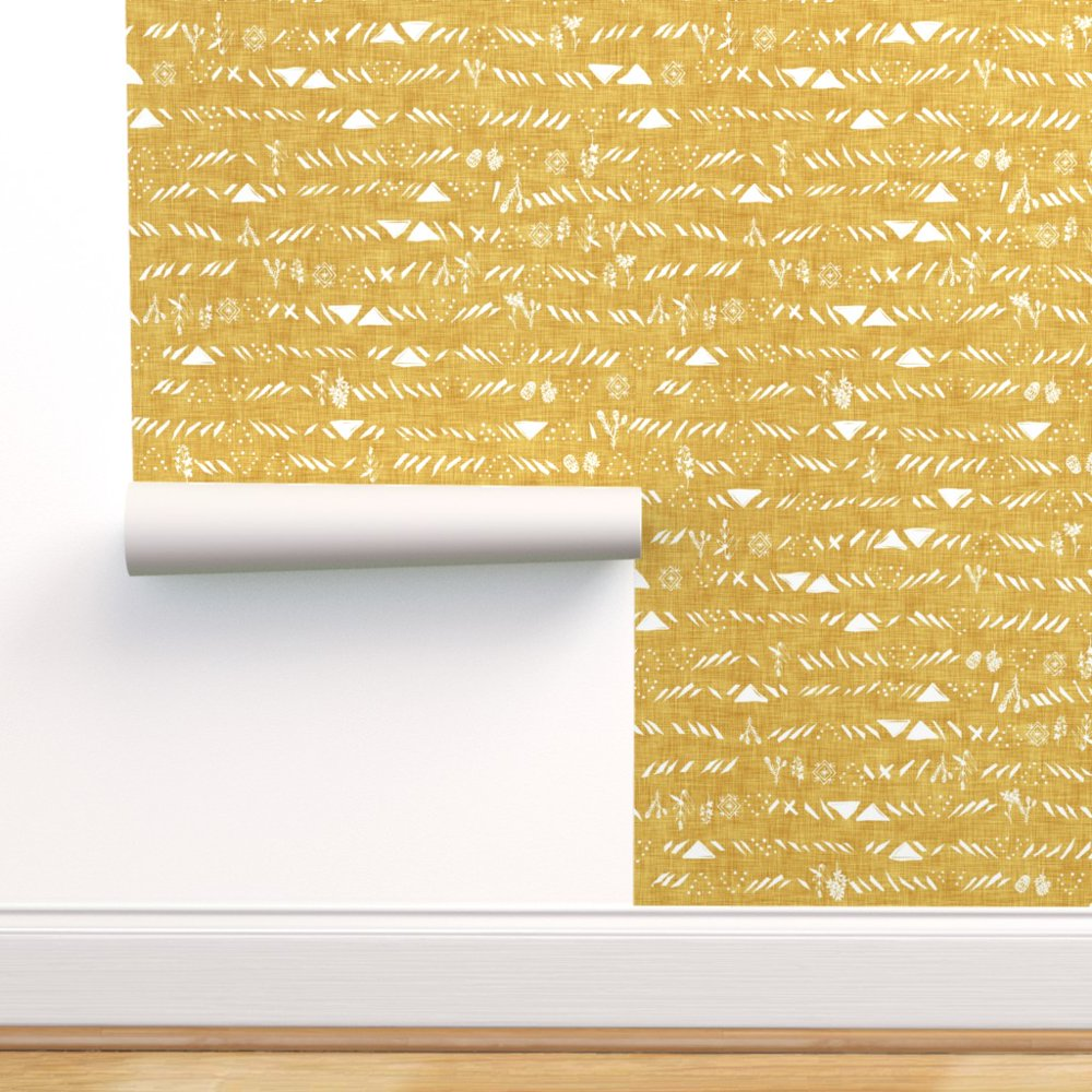 Peel-and-Stick Removable Wallpaper Mustard Yellow White ...