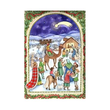 sellmer advent christmas manger scene calendar card 12h x 8w