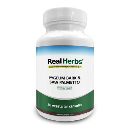 Real Herbs Pygeum Bark Pure Extract 4:1 350mg and Saw Palmetto Pure Extract 4:1 350mg - 700mg - Promotes Prostate Health, Supports Urinary Tract Health- 50 Vegetarian