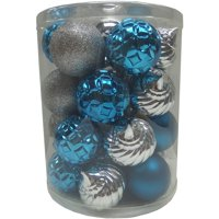 Holiday Time Teal/Silver 60mm Christmas Shatterproof Ornament, Set of 26